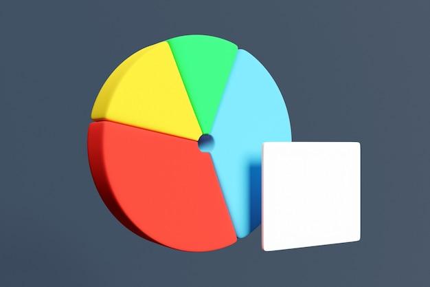 インフォグラフィックの円グラフの3dイラスト。作業スケジュール、プレゼンテーション、レポート、ステップオプション、webデザインの4つのセクターと白いプレートのチャート。