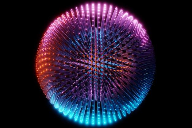 多くの顔とスパイク、結晶が黒い背景のネオンライトの下で散乱するピンクとブルーの金属球の3dイラスト。サイバーボール球