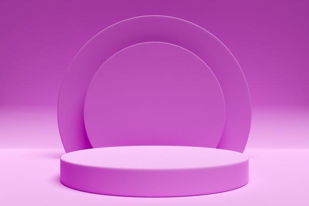 둥근 아치와 원에서 핑크 장면의 3d 일러스트