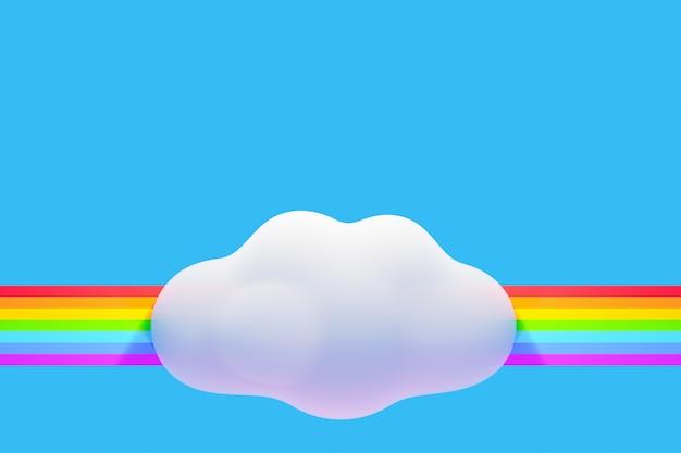 青い背景に雲と虹の3dイラスト。揮発性の子供たちのデザインの背景