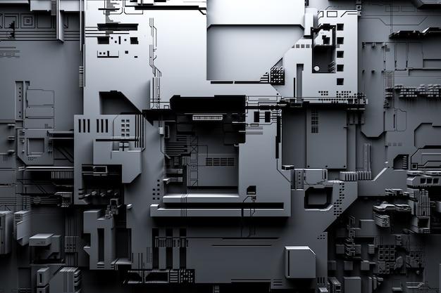 로봇 또는 검은 사이버 갑옷의 현실적인 모델의 3d 그림. 암호화-비트 코인 채굴을위한 근접 장비 에테르. 비디오 카드; 마더 보드