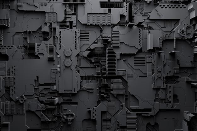 ロボットまたは黒いサイバー鎧の現実的なモデルの3dイラスト。暗号ビットコインをマイニングするためのクローズアップ機器。エーテル。ビデオカード;マザーボード