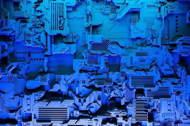 3d иллюстрация реалистичной модели робота или синей кибер-брони. крупное оборудование для майнинга крипто-биткойнов; эфир. видеокарты; материнские платы