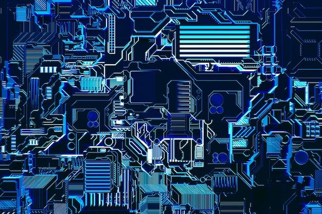 ロボットまたは青いサイバー鎧の現実的なモデルの3dイラスト。暗号ビットコインをマイニングするためのクローズアップ機器。エーテル。ビデオカード;マザーボード