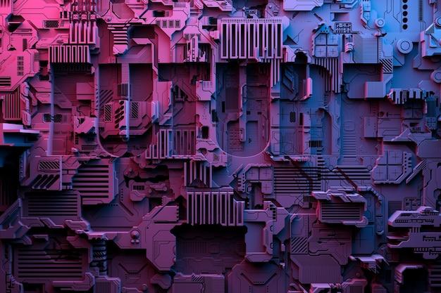 ロボットまたは紫色のサイバー鎧の現実的なモデルの3dイラスト。暗号ビットコインをマイニングするためのクローズアップ機器。エーテル。ビデオカード;マザーボード