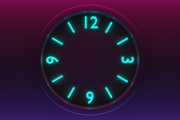 네온 검정과 분홍색 격리된 배경에 숫자가 있는 둥근 어두운 시계의 3d 그림. 시간 개념