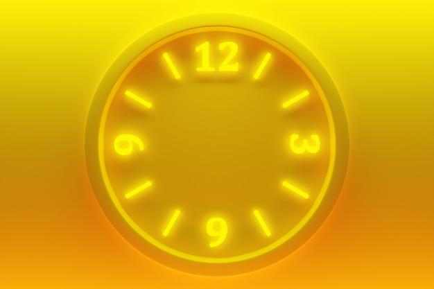 네온 노란색 격리된 배경에 숫자가 있는 둥근 투명 시계의 3d 그림. 시간 개념