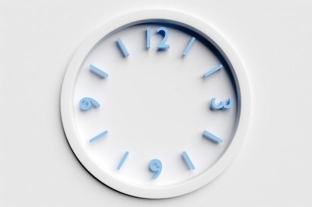 흰색 격리된 배경에 숫자가 있는 원형 투명 시계의 3d 그림. 시간 개념