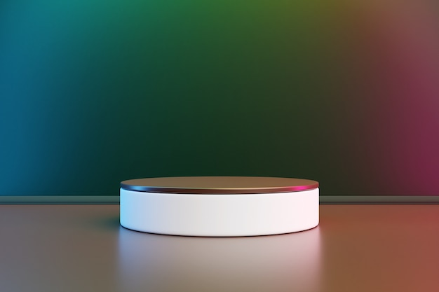 緑の背景の円からのシーンの3dイラスト。白い丸い台座のクローズアップ。
