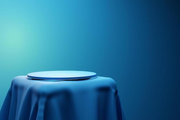 모노크롬 배경의 파란색 천 아래 받침대에 있는 원의 한 장면에 대한 3d 그림. 흰색 라운드 흑백 주각의 클로즈업입니다.