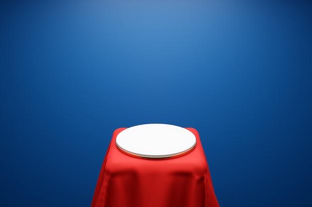 파란색 배경에 빨간색 천 아래 받침대에 있는 원에서 한 장면의 3d 그림. 흰색 라운드 흑백 주각의 클로즈업입니다.