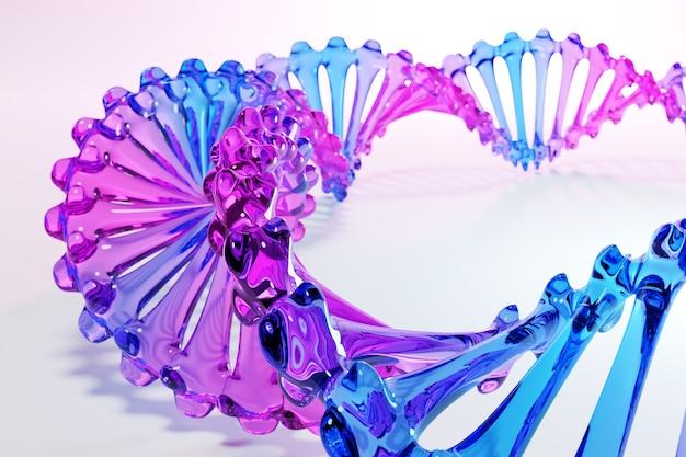 과학 템플릿, dna 분자와 추상적 인 배경의 3d 일러스트. 추상적 인 기술 과학 개념 dna 미래