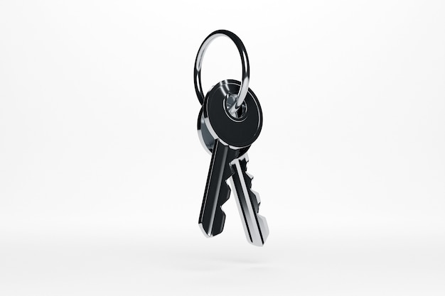 3d иллюстрации серебряной металлической связки ключей от нового дома, квартиры на белом изолированном фоне