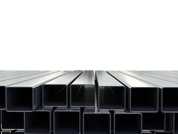 3d иллюстрации квадратных металлических труб, сложенных в кучу, изолированные на белом фоне в качестве фона