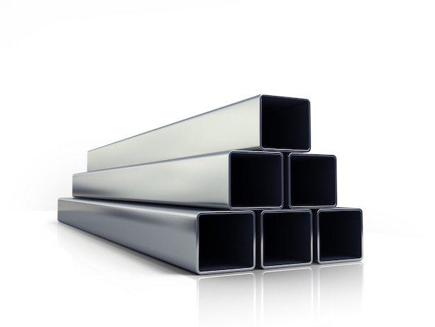 3d иллюстрации квадратных металлических труб, сложенных в кучу на белом фоне