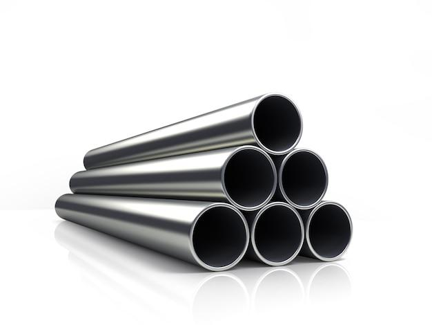 3d иллюстрации стопки труб, изолированные на белом фоне