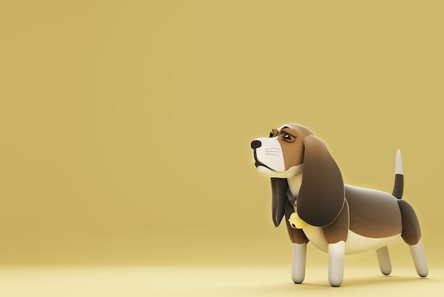 서있는 강아지의 3d 일러스트