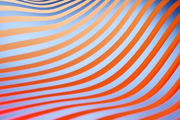 다른 색상의 스테레오 스트립의 3d 일러스트. 파도와 유사한 기하학적 줄무늬. 추상 파란색과 빨간색 빛나는 교차점 라인 패턴