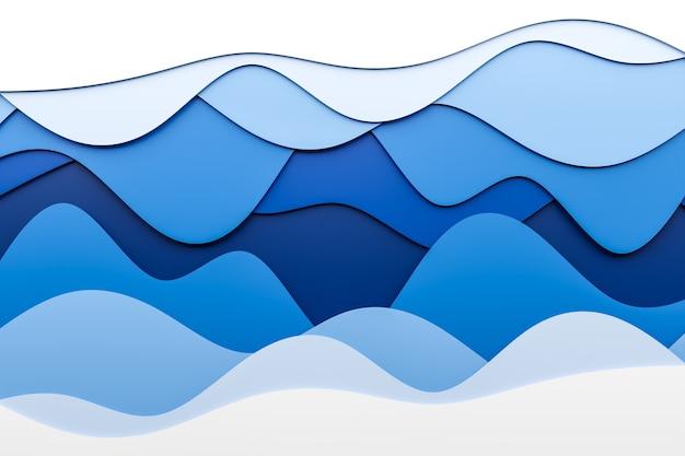 さまざまな色のステレオストリップの3dイラスト。波に似た幾何学的な縞模様。抽象的な白と青のネオンの輝く交差線パターン