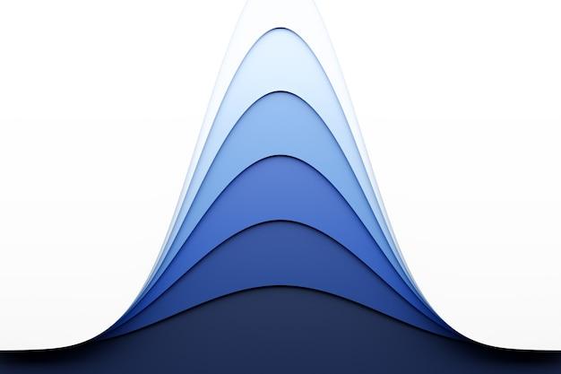 다른 색상의 스테레오 스트립의 3d 일러스트. 파도와 유사한 기하학적 줄무늬. 추상 흰색과 파란색 네온 빛나는 교차 라인 패턴
