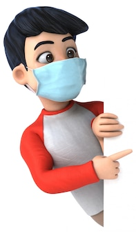 코로나 바이러스 예방을위한 마스크와 십대의 3d 일러스트