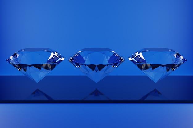 モノグロムの背景にネオンブルーの光の下で空中にぶら下がっている3つの透明なダイヤモンドの3dイラスト。ラージファセットダイヤモンド