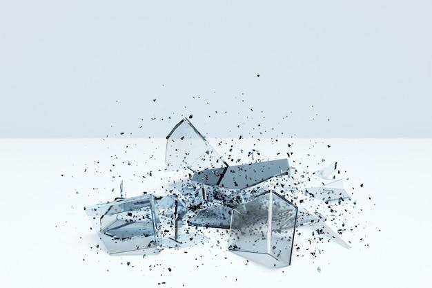 흰색 배경에 거대한 파편이 있는 투명한 깨진 큐브의 3d 그림. 작은 조각으로 쪼개진 모양의 기하학. 임의의 모양.