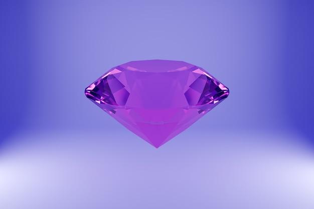 紫色の背景にネオンピンクの光の下で空中にぶら下がっている透明なダイヤモンドの3dイラスト。ラージファセットダイヤモンド