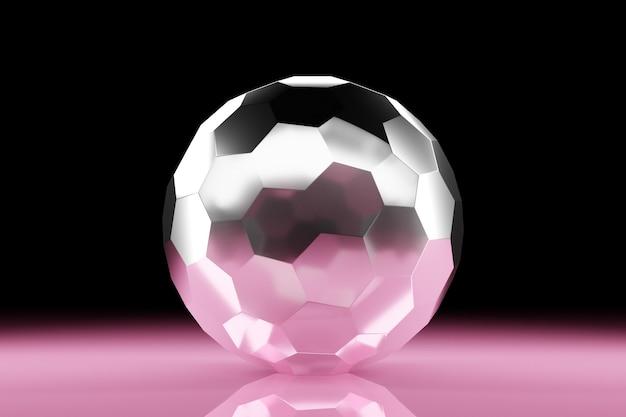 많은 면 결정이 흩어져 있는 투명한 유리 공의 3d 그림