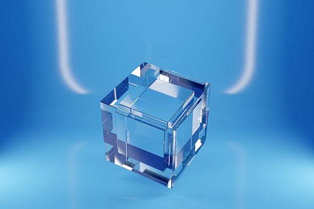 흰색 네온 불빛 아래 파란색 배경에 투명 유리 큐브의 3d 그림. 간단한 3 차원 기하학적 그림. 사이버 볼 모양