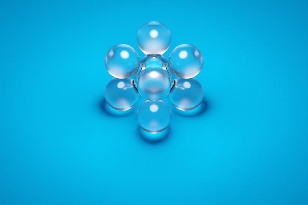 青い背景に膨大な数のパーツを持つ透明なメタボールの3dイラスト。互いに輝く球体に溢れ出る飛行のデジタルメタボールの背景。