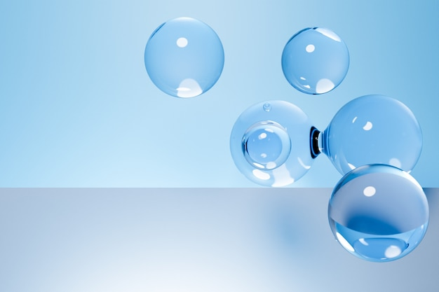 파란색 배경에 엄청난 수의 부품으로 투명 metaball의 3d 일러스트