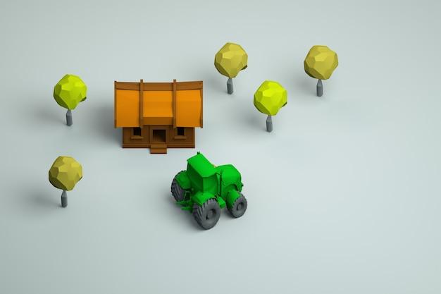 村の家、緑のトラクター、白い孤立した背景の木々の3dイラスト。アイソメモデル、上面図。