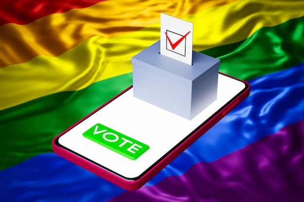 3d иллюстрации урны для голосования с рекламным щитом, стоящим на смартфоне, с флагом лгбт на заднем плане. концепция онлайн-голосования, цифровизация выборов