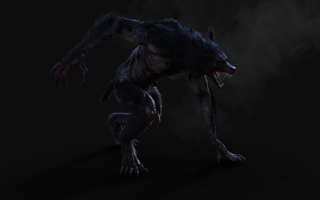 클리핑 패스와 함께 어두운 배경에 늑대의 3d 일러스트.