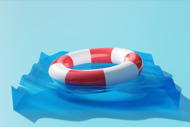 Иллюстрация 3d белого и красного спасательного круга плавает в чистой воде. аварийный спасательный круг Premium Фотографии
