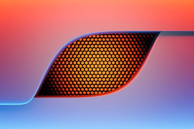 파란색과 빨간색 배경에 검정과 오렌지색 넓어짐으로 만든 창의 3d 그림.