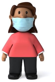 3d иллюстрации женщины с маской