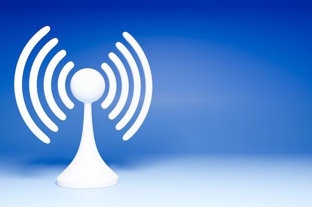 파란색 배경에 작동 셀룰러 연결 wi-fi, 4g 및 5g의 3d 그림. 휴대 전화 또는 스마트 장치 아이콘.