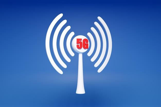 작업 셀룰러 연결 wi-fi, 파란색 배경에 5g의 3d 그림. 휴대 전화 또는 스마트 장치 아이콘.