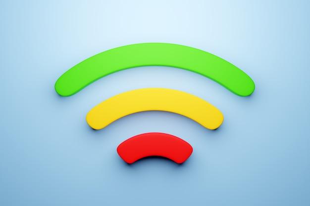 파란색 배경에 작업 셀룰러 연결 wi-fi의 3d 그림. 휴대 전화 또는 스마트 장치 아이콘.