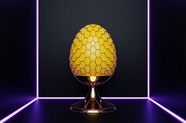 ネオンルームのメッシュ形状の黄色い鶏卵の3dイラスト。