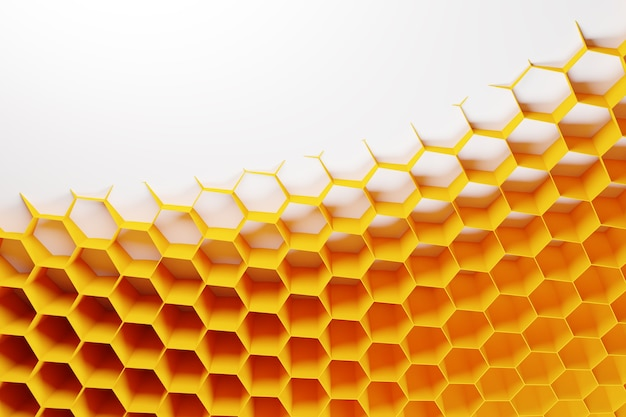 꿀 노란색 벌집 단색 벌집의 3d 그림