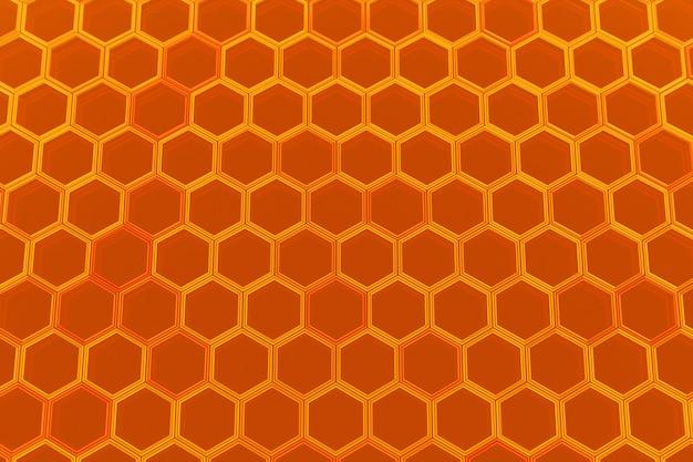 蜂蜜のための黄色のハニカムモノクロハニカムの3dイラスト