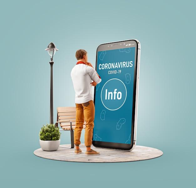 큰 스마트 폰에 서서 코로나 바이러스에 대한 정보를 읽는 젊은 남자의 3d 일러스트