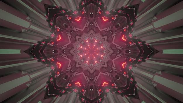 3d иллюстрации абстрактного фона туннеля в форме темного цветка с красной неоновой подсветкой