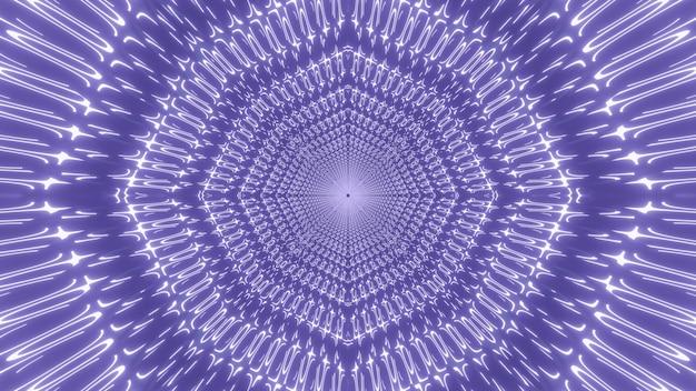 빛나는 빛과 보라색 끝없는 터널 루프의 추상적 인 배경의 3d 일러스트