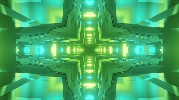 サイエンスフィクションの幾何学的なトンネルの抽象的な背景の3dイラスト