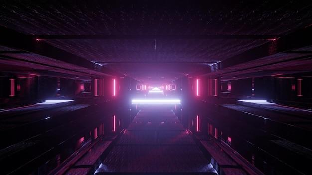3d иллюстрация абстрактного фона с симметричным туннелем, освещенным розовыми и фиолетовыми огнями