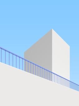 추상적인 건물 배경, 최소한의 건축 포스터의 3d 그림.